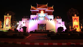 Restored city gate archtecture at night in Korat. KORAT-MAR 09: Restored city gate archtecture at night in Nakhon Ratchasima or Korat downtown, Thailand on March Stock Photo