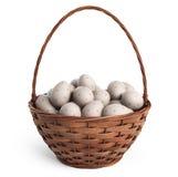Korb 3D Ostern gefüllt mit bunten Eiern Getrennt stockfotos