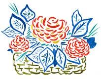 Korb der roten Rosen - Handzeichnung Stockbild