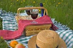 Korb des Picknicks Stockfotos