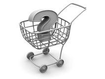 Korb des Verbrauchers mit Frage Stockbild