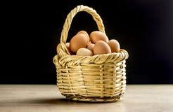 Korb füllte mit Eiern Lizenzfreies Stockfoto