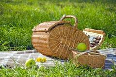 Korb für das Picknick Stockfoto