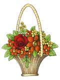 Korb mit Blumen Lizenzfreie Stockfotos