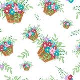 Korb mit Blumen Stockfotos