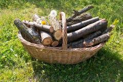 Korb mit Brennholz Lizenzfreie Stockfotos