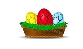 Korb mit bunten Eiern Lizenzfreie Stockfotografie