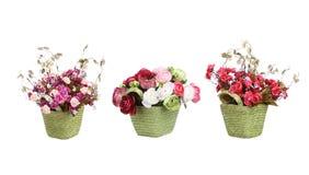 Korb mit dem Frühlingsblumen-Dekorsatz lokalisiert Lizenzfreies Stockbild
