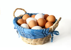 Korb mit frischen Eiern Stockbild