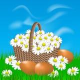 Korb mit Gänseblümchen und Eiern auf dem Gras Lizenzfreie Stockbilder