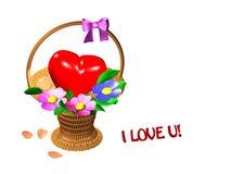 Korb mit Herzen und Blumen auf weißem Hintergrund Stockbilder