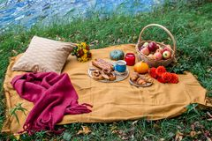 Korb mit Lebensmittel-Bäckerei Autumn Picnic lizenzfreie stockbilder