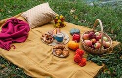 Korb mit Lebensmittel-Bäckerei Autumn Picnic lizenzfreie stockfotos