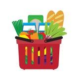 Korb mit Lebensmittel Einkauf im Speicher Stockfoto