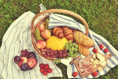Korb mit Lebensmittel-Frucht-Bäckerei-Käse Ham Tomato Picnic Green Grass tonte Foto Lizenzfreies Stockfoto
