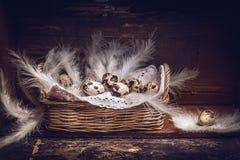 Korb mit Wachteleiern und -federn auf altem Holztisch, über rustikalem Hintergrund, Seitenansicht stockfotografie