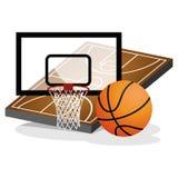 Korb-Spielfeld und Ball-Vektor-Illustration Lizenzfreie Stockbilder