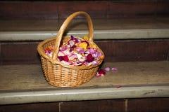 Korb voll von Blumenblättern Lizenzfreie Stockbilder