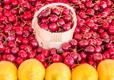 Korb von Kirschen in einem Kirschhintergrund Stockfotografie