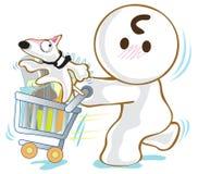 Korb-Warenkorb-Hundebullterriereinkaufen lizenzfreie abbildung