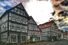 Korbach,德国汉撒同盟镇  免版税库存照片