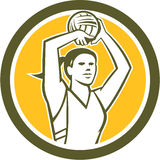 Korbball-Spieler-Schießen-Ball-Kreis Retro- Stockbilder