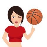 Korbballgriff durch schönes Mädchenfrauen-Sportlächeln Lizenzfreie Stockfotografie