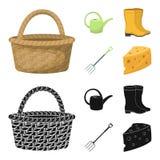 Korbflechtweide, Gießkanne für Bewässerung, Gummistiefel, Gabeln Bauernhof und im Garten arbeitende gesetzte Sammlungsikonen in d lizenzfreie abbildung