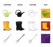 Korbflechtweide, Gießkanne für Bewässerung, Gummistiefel, Gabeln Bauernhof und im Garten arbeitende gesetzte Sammlungsikonen in d vektor abbildung