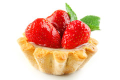 Korbkuchen mit Erdbeere Lizenzfreie Stockfotos