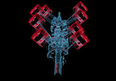 Korbowy dyszel z tłokami 3D xray czerwień i błękitny przejrzysty () Obrazy Royalty Free