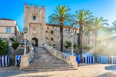 Korcula市门在克罗地亚,欧洲 免版税库存照片