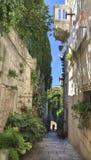 Korcula狭窄的街道, Korcula海岛在克罗地亚 免版税库存照片