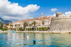 Korcula,达尔马提亚,克罗地亚镇  免版税库存图片