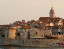 Korcula, Katedrala Svetog玛尔卡,城堡,克罗地亚 免版税图库摄影