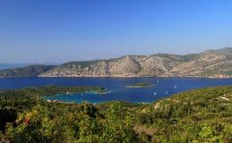 Korcula ö i det adriatic havet nära kneze royaltyfria foton