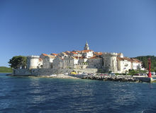 Korcula. The fortified city of Korcula in Croatia stock photography