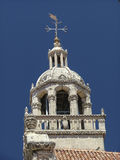 Korcula Cathedral. Top of the cathedral of Korcula in Croatia stock photo