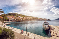 Korcula city and ship in harbour Stock Image