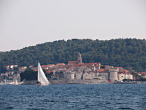 Korcula, Croatia. KORCULA - JULY 12: Tourist and locals find refreshment in the Adriatic ocean as Croatia suffers one of the hotest summers in 30 years, on July Royalty Free Stock Images