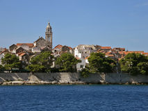 Korcula - Croatia 3. View from the Adriatic  sea, on a  beautiful old fortified town of Korcula in Croatia - Dalmatia - birthplace of Marco Polo. Horizontal Stock Photo