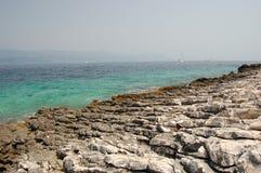 korcula för strandcroatia ö Arkivbild