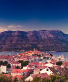 Korcula old Adriatic island town, Croatia. Korcula old Adriatic island town of Croatia in twilight. Popular touristic destination on the coast Stock Photos