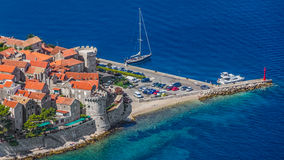 Korcula old town. Aerial helicopter shoot of Korcula old town. Dubrovnik archipelago - Elaphites islands Royalty Free Stock Photos