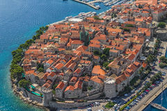 Korcula old town. Aerial helicopter shoot of Korcula old town. Dubrovnik archipelago - Elaphites islands Royalty Free Stock Photo