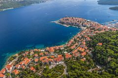 Korcula old town. Aerial helicopter shoot of Korcula old town. Dubrovnik archipelago - Elaphites islands Royalty Free Stock Images