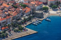 Korcula old town aerial photo Royalty Free Stock Photos