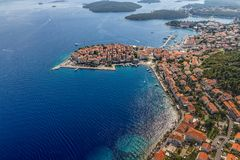 Korcula old town aerial photo Royalty Free Stock Photo