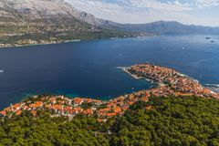 Korcula old town aerial photo Stock Photography