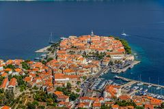 Korcula old town aerial photo Stock Images